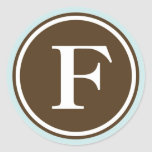 Initial F monogram circle letter seal party favor Round Sticker