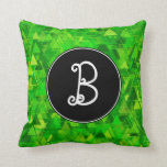 "[ Thumbnail: Initial; ""Forest"" of Green Triangle Shapes Pattern Throw Pillow ]"