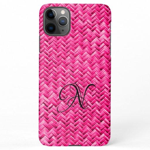 Initial:  Fuchsia Basketweave Geometric Pattern iPhone 11Pro Max Case