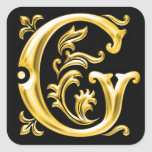 Initial G Capital Letter Sticker in Gold