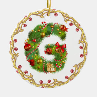 initial G monogrammed christmas ornament - circle
