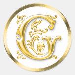 Initial G Round Sticker in Gold