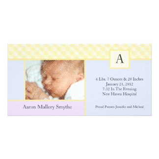 Initial Gingham Patchwork Boy Baby Photo Cards