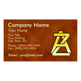 initial gold A and Z on leather bottom Business Card