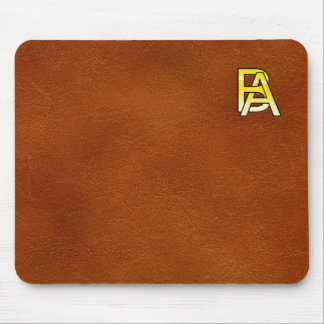 initial gold B and A on leather bottom Mouse Pad