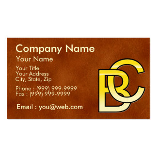 initial gold B and C on leather bottom Business Card