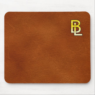 initial gold B and L on leather bottom Mouse Pad