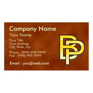initial gold B and P on leather bottom Business Card
