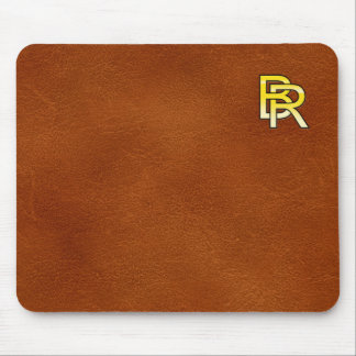 initial gold B and R on leather bottom Mouse Pad