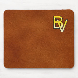 initial gold B and V on leather bottom Mouse Pad