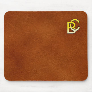 initial gold C and B on leather bottom Mouse Pad