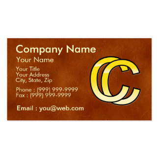 initial gold C and C on leather bottom Business Card