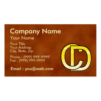 initial gold C and D on leather bottom Business Card