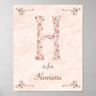 Initial H Baby Name Monogram Art Print