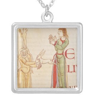 Initial 'H' in the form of two conjurors Square Pendant Necklace