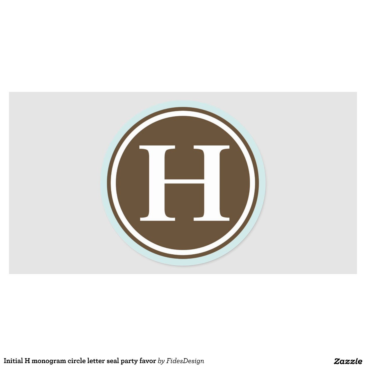 initial h monogram circle letter seal party favor classic round sticker
