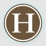 Initial H monogram circle letter seal party favor Round Sticker