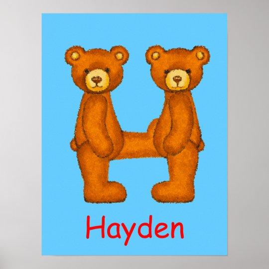 Initial H~Teddy Bear Alphabet Letter~Custom Name Poster