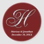 Initial H wine red monogram custom name favor seal Round Stickers