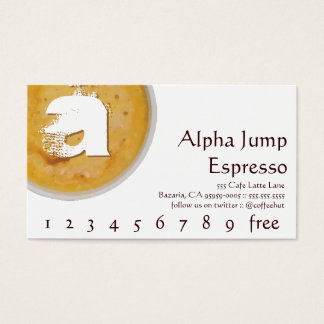 Initial in Foamy Cup of Coffee Loyalty Punch Card