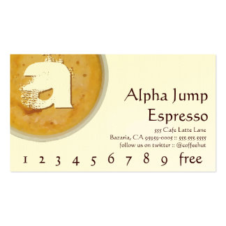 Initial in Foamy Cup of Coffee Loyalty Punch Card Business Card
