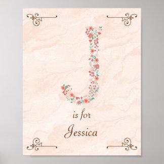 Initial J Baby Name Monogram Art Print