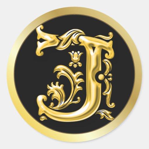 Initial J Round Sticker in Gold