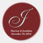 Initial J wine red monogram custom name favor seal Sticker