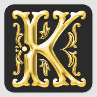 Initial K Capital Letter Sticker in Gold