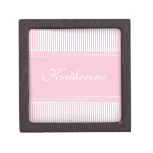 Initial K girls name pink stripes jewelry box Premium Trinket Boxes