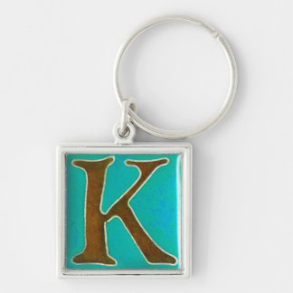 initial K keychain, cloisonne turquoise and brown