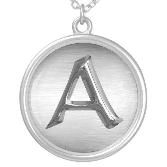 "Initial Letter ""A"" Silver Necklace"