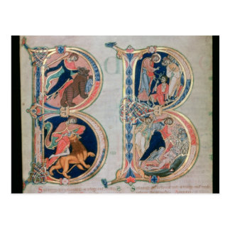 Initial letter 'B' Beatus vir - Blessed is the Postcard