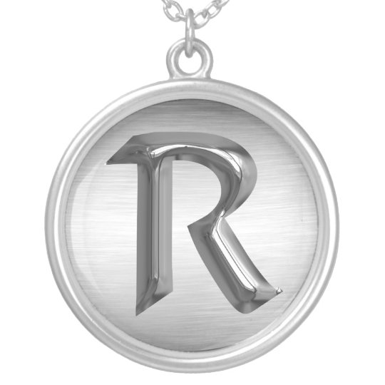 """Initial Letter """"R"""" Silver Necklace"""