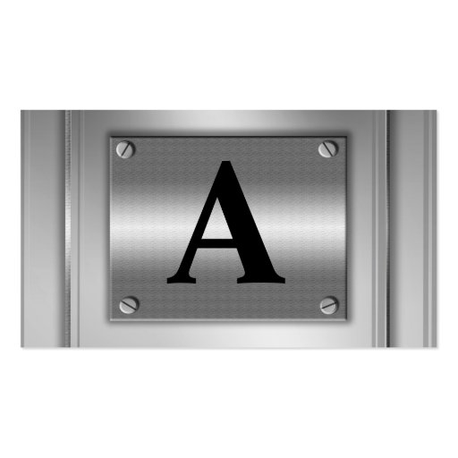 Initial Letter Silver Metal Business Cards