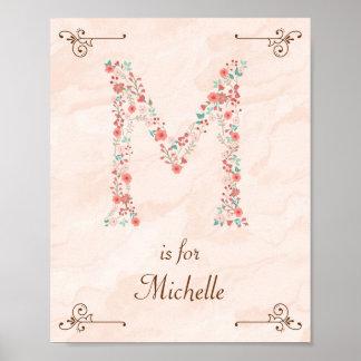 Initial M Baby Name Monogram Art Print