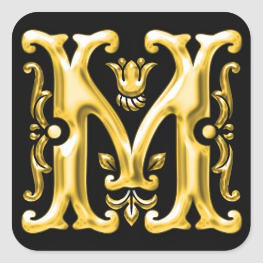 Initial M Capital Letter Monogram Sticker In Gold