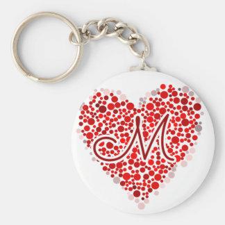 Initial M Heart Keychain