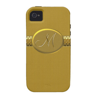 Initial M Metallic Gold Photo Printed Case iPhone 4 Cover