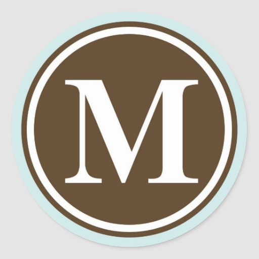 initial m monogram circle letter seal party favor classic round sticker