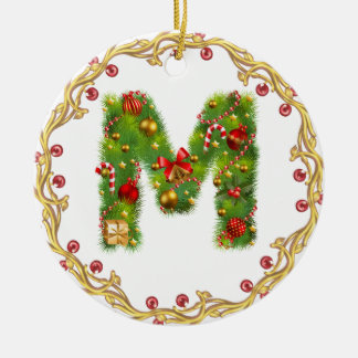 initial M monogrammed christmas ornament - circle