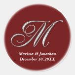 Initial M wine red monogram custom name favor seal Sticker