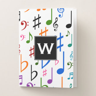 Initial + Many Colorful Music Notes and Symbols Pocket Folder