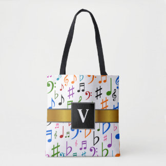 Initial + Many Colorful Music Notes and Symbols Tote Bag