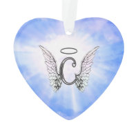 Initial Monogram C With Angel Wings, Halo Clouds