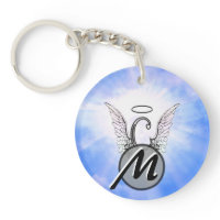 Initial Monogram C With Angel Wings, Halo Clouds Acrylic Key Chain