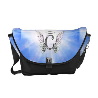 Initial Monogram C With Angel Wings, Halo Clouds Messenger Bag