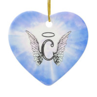 Initial Monogram C With Angel Wings, Halo Clouds Ornament