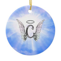 Initial Monogram C With Angel Wings, Halo Clouds Christmas Ornament