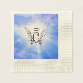 Initial Monogram C With Angel Wings, Halo Clouds Paper Napkin